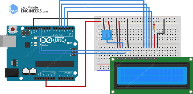 arduino wiring fritzing connections with 16x2 character lcd