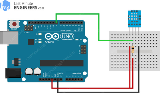 Arduino Wiring Fritzing Connections with DHT11