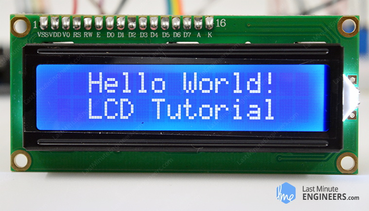 Interfacing 16x2 character LCD with Arduino Hello world Program output
