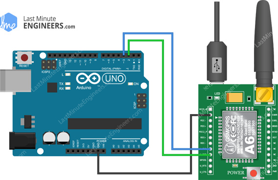 Arduino Wiring Fritzing Connections with A6 GSM GPRS Module - USB Power Supply