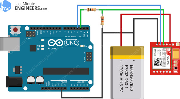 Arduino Wiring Fritzing Connections with SIM800L GSM GPRS Module & 3.7V LiPo Battery