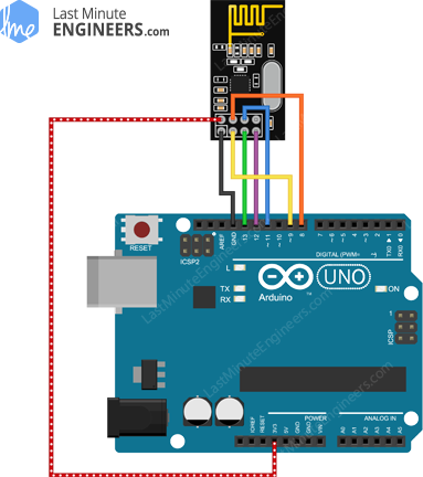 Arduino Wiring Fritzing Connections with nRF24L01+ Wireless Transceiver Module