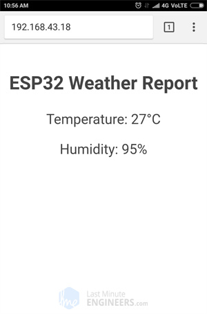 Display DHT11 DHT22 AM2302 Temperature Humidity on ESP32 Web Server - Without CSS