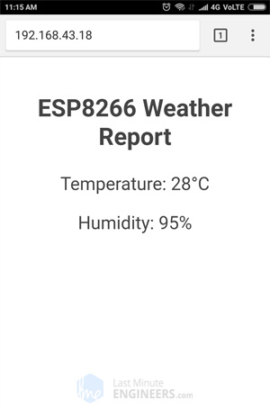 Display DHT11 DHT22 AM2302 Temperature Humidity on ESP8266 Web Server - Without CSS