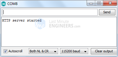 ESP32 Web Server Access Point Mode Serial Monitor Output - Server Started