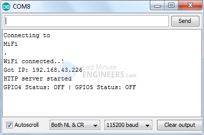 ESP32 Web Server Station Mode Serial Monitor Output - Webpage Accessed