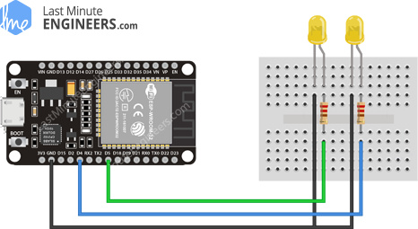 Simple ESP32 Web Server Wiring Fritzing Connections with LED