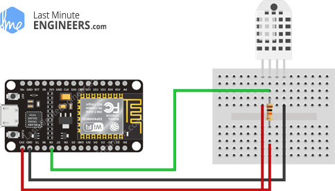 Wiring Fritzing Connecting DHT22 Temperature Humidity Sensor with ESP8266 NodeMCU