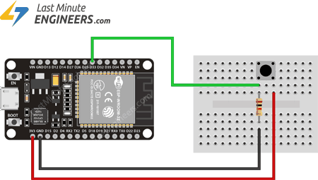Connecting Button to ESP32 for ext0 External Wakeup Source