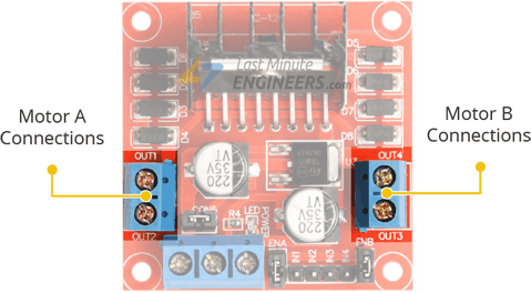 L298N Motor Driver Module - Motor Connection Pinout