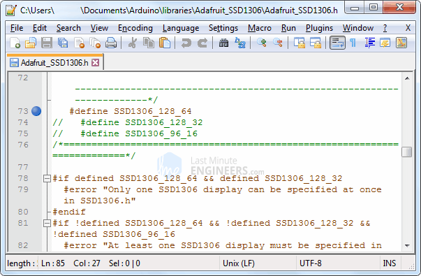 Remove Height Incorrect Error By Changing Adafruit_SSD1306.h File