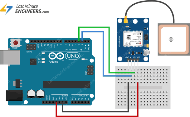 Wiring Connections NEO-6M GPS Module to Arduino UNO