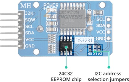 24C32 EEPROM & I2C Address Selection Jumpers on DS3231 RTC Module