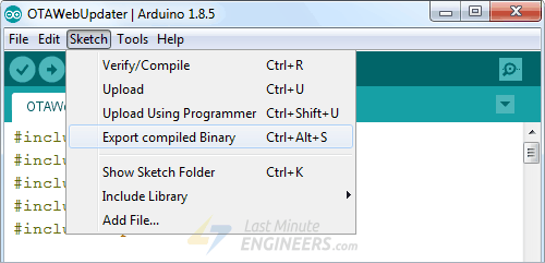 Exporting Compiled Binary of a Program In Arduino IDE