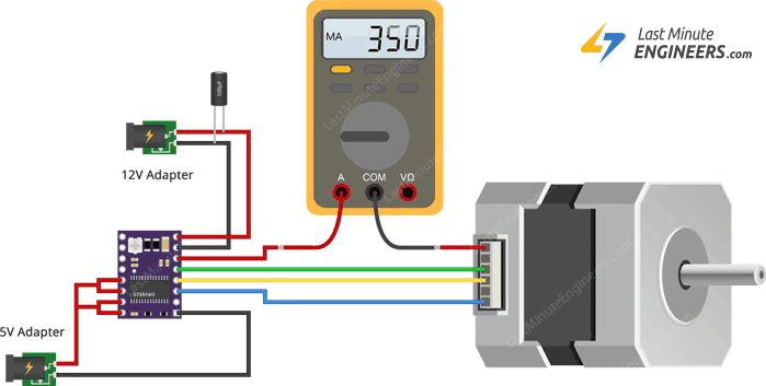 Measuring Coil Current & Setting Current Limit for DRV8825 with Multimeter