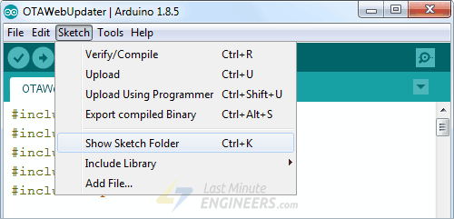 Open Sketch Folder From Arduino IDE