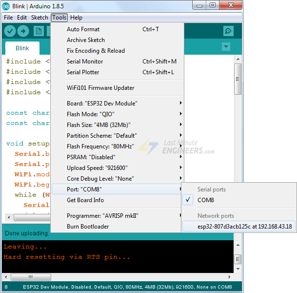 Select OTA Port in Arduino IDE