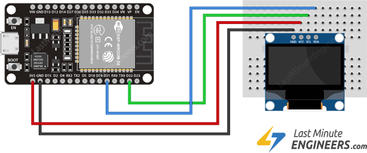 Wiring Connections for OLED Display Module with ESP32