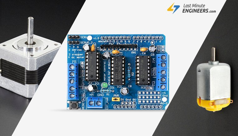Tutorial For Interfacing DC, Stepper & Servo Motors with L293D Shield & Arduino