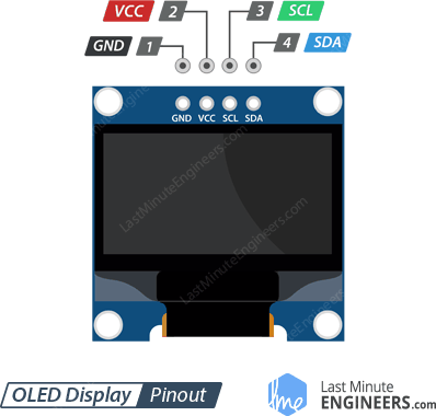 128x64 I2C OLED Display Pinout