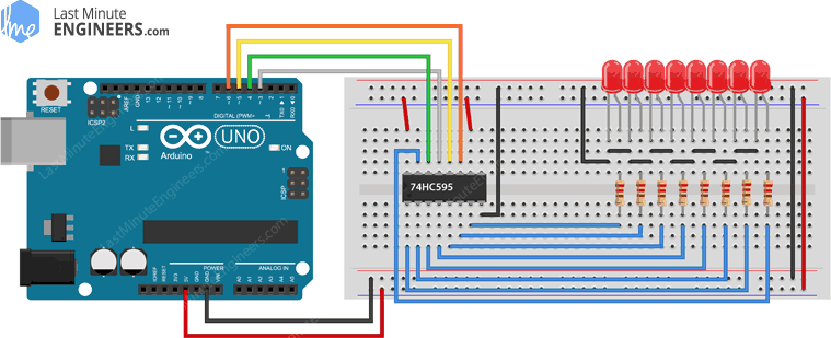 Arduino PWM Brightness Control Wiring Fritzing Connections with 74HC595 Shift Register
