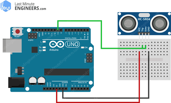Arduino Wiring Fritzing 3 Wire Mode Connections with HC-SR04 Ultrasonic Sensor