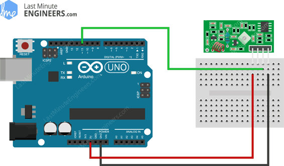 Arduino Wiring Fritzing Connections with 433MHz RF Wireless Receiver Module
