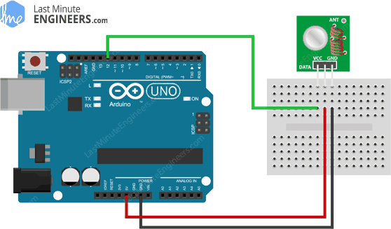 Arduino Wiring Fritzing Connections with 433MHz RF Wireless Transmitter Module