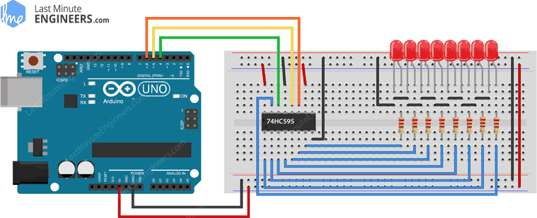 Arduino Wiring Fritzing Connections with 74HC595 Shift Register