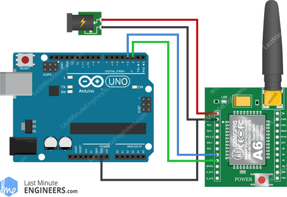 Arduino Wiring Fritzing Connections with A6 GSM GPRS Module - External Power Supply