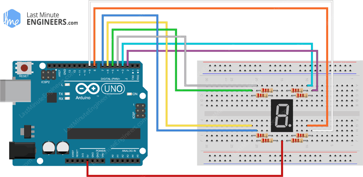 Arduino Wiring Fritzing Connections with Common Anode Seven Segment Display