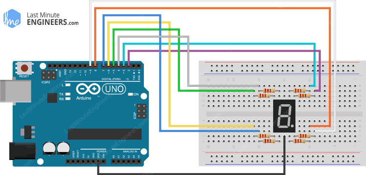Arduino Wiring Fritzing Connections with Common Cathode Seven Segment Display