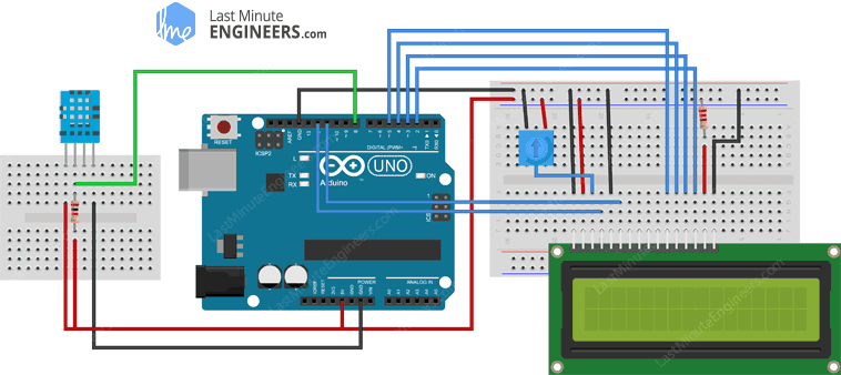 Arduino Wiring Fritzing Connections with DHT11 and 16x2 Character LCD