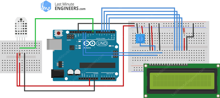 Arduino Wiring Fritzing Connections with DHT22 and 16x2 Character LCD