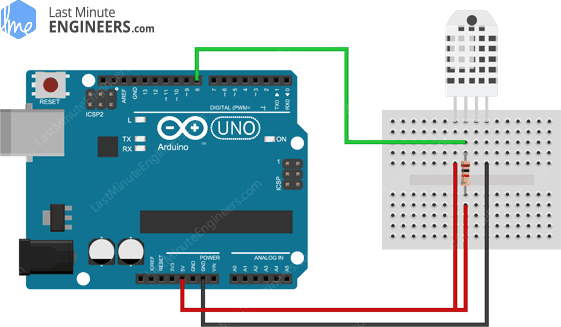Arduino Wiring Fritzing Connections with DHT22