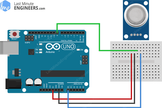 Arduino Wiring Fritzing Connections with MQ2 Gas Sensor