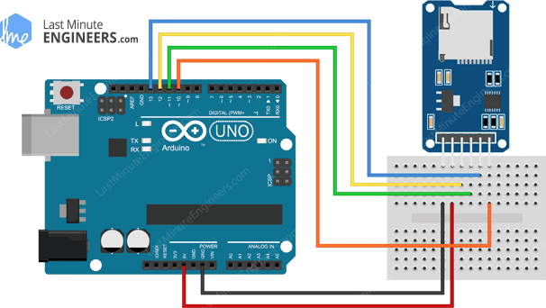 Arduino Wiring Fritzing Connections with Micro SD TF Card Module