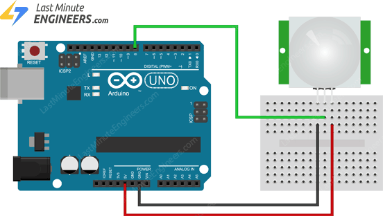 Arduino Wiring Fritzing Connections with PIR Sensor Module