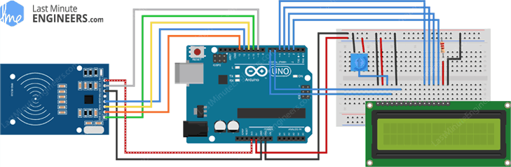 Arduino Wiring Fritzing Connections with RC522 RFID Reader & LCD