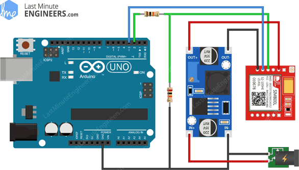 Arduino Wiring Fritzing Connections with SIM800L GSM GPRS Module & LM2596