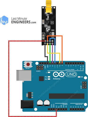 Arduino Wiring Fritzing Connections with nRF24L01+ PA LNA External Antenna Wireless Module