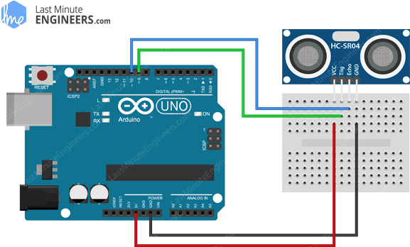 Arduino Wiring Fritzing Normal Mode Connections with HC-SR04 Ultrasonic Sensor
