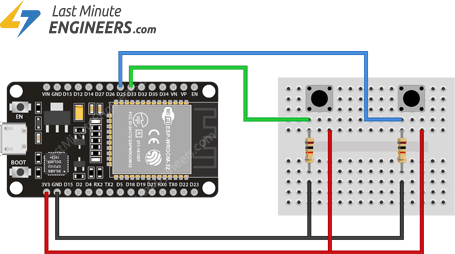 Connecting Multiple Buttons to ESP32 for ext1 External Wakeup Source
