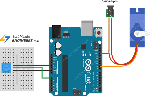 connecting servo motor to arduino uno for potentiometer control