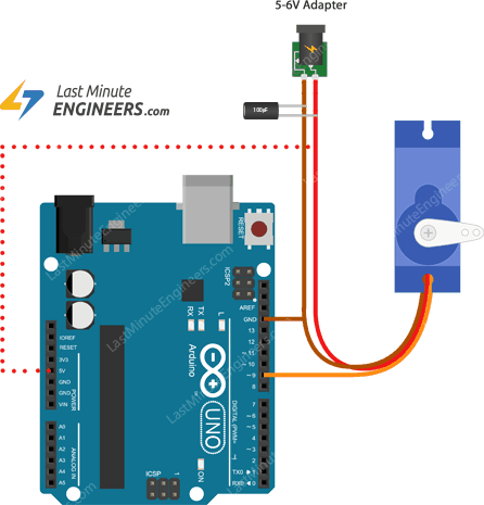 connecting servo motor with capacitor to arduino uno