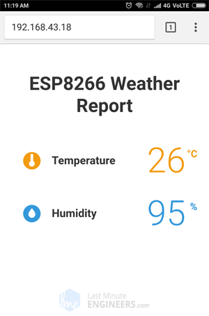 Display DHT11 DHT22 AM2302 Temperature Humidity on ESP8266 Web Server - Professional Look