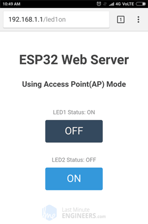 ESP32 Web Server Access Point Mode Web Page - LED Control