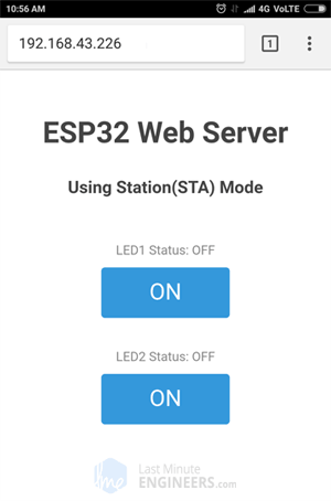 ESP32 Web Server Station Mode - Web Page