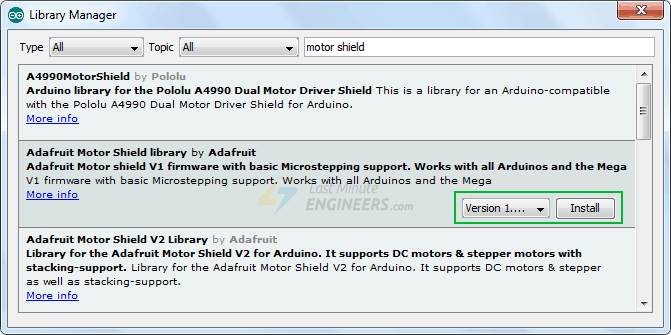 Installing AFMotor Library