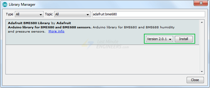 installing bme680 library in arduino ide